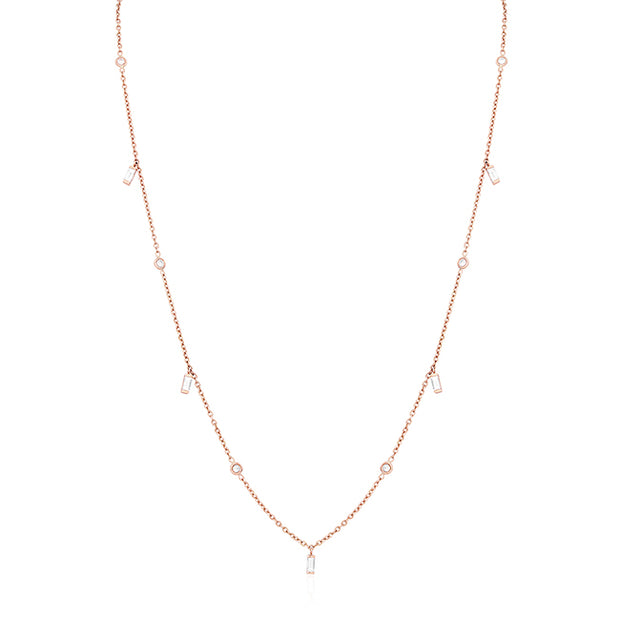 18K Rose Gold Baguette and Round Diamond Necklace