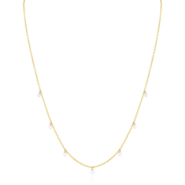 18K Yellow Gold Dangling Round Diamond Necklace