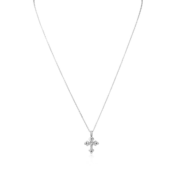 18K White Gold Diamond Petite Cross Necklace