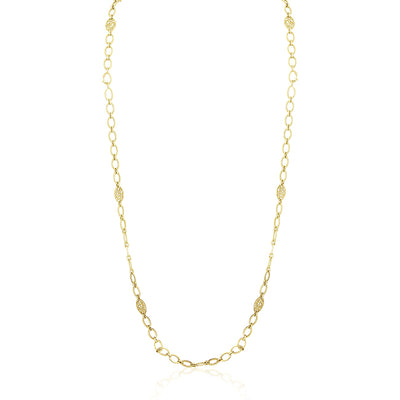 "18K Yellow Gold 34"" Garland Flower Necklace"