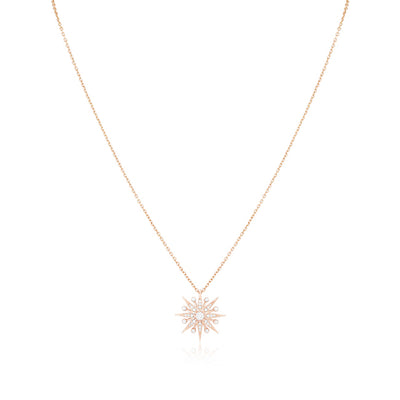 18K Rose Gold Starburst Diamond Pendant Necklace