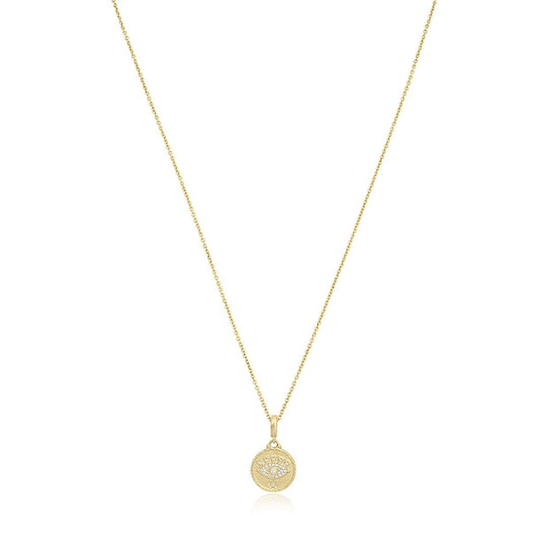 18K Yellow Gold and Diamond All Knowing Eye Medallion Necklace