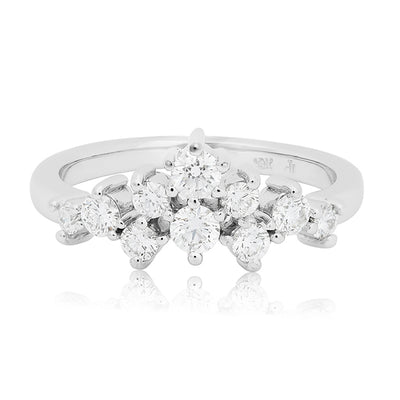 Penny Preville 18K White Gold Round Diamond Cluster Ring