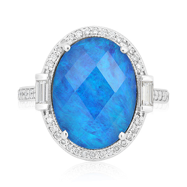 18K White Gold Ring with an Opal Doublet and Diamonds