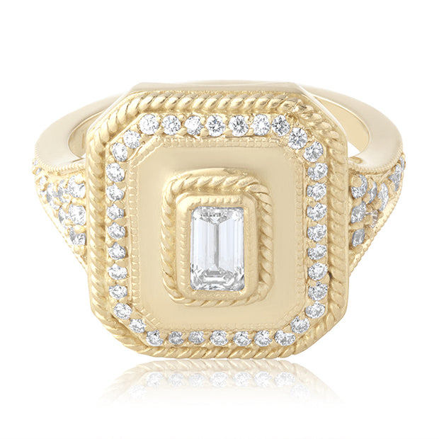Penny Preville 18K Yellow Gold Emerald Cut Diamond Ring