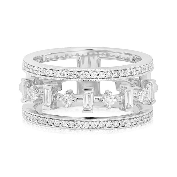 18K White Gold Moderne Deco Wide Cut-Out Diamond Band - TIVOL