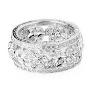 18K White Gold Flower and Leaf Diamond Band