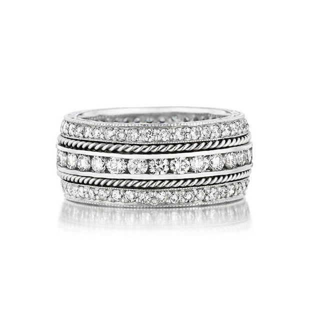 18K White Gold Three Row Channel Diamond Band