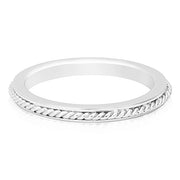 18K White Gold High Polished Twist Band