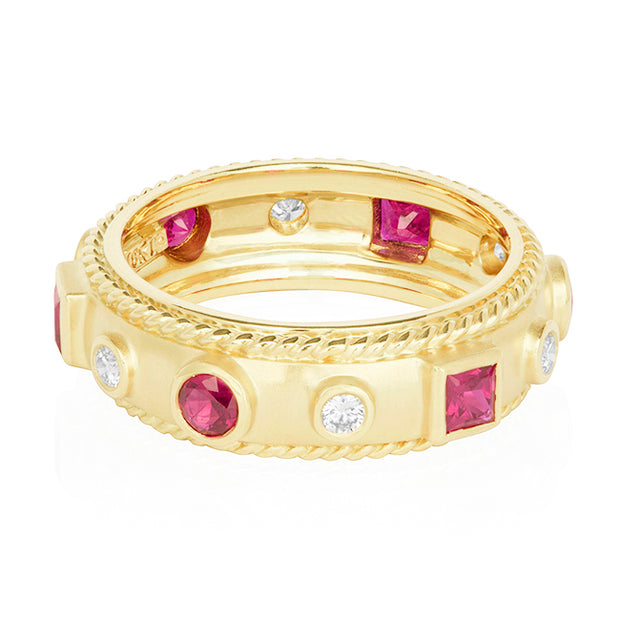 18K Yellow Gold Diamond and Ruby Band