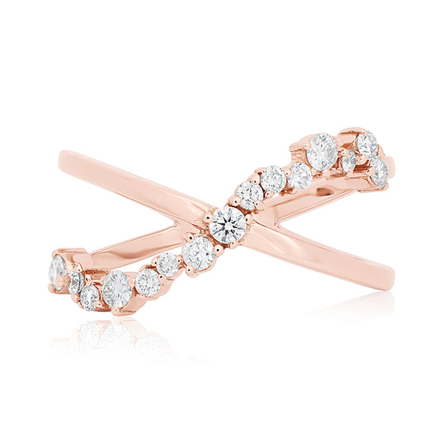 18K Rose Gold Diamond Cluster Crossover Band