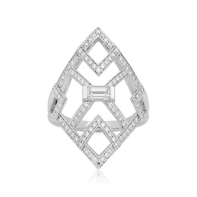 18K White Gold Deco Diamond Ring