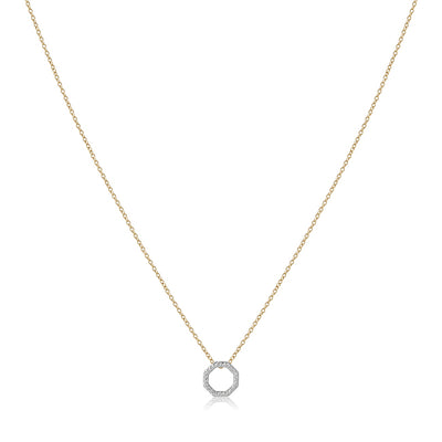 14K Yellow Gold Octagon Necklace with Diamonds
