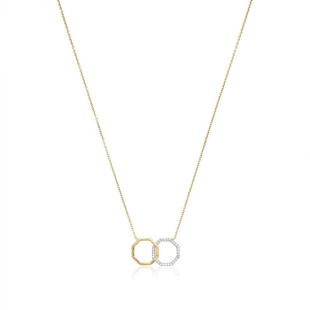 14K Yellow and White Gold Interlocking Octagon Neckace with Diamonds