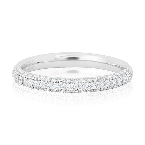 Precision Set Platinum Band With Three Rows of Round Diamonds