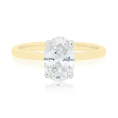 18K Yellow Gold Oval Diamond Mounting