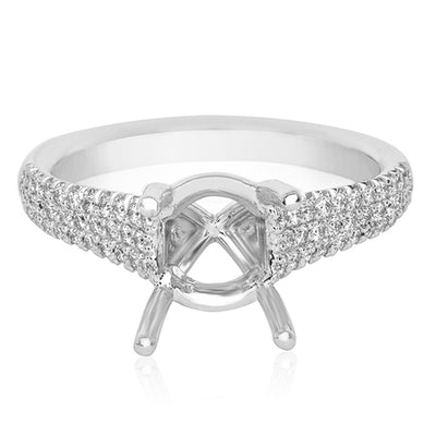 18K White Gold Diamond Semi-Mounting