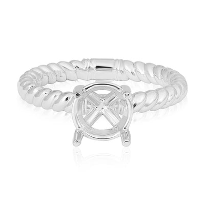 18K White Gold Rope Solitaire Mounting