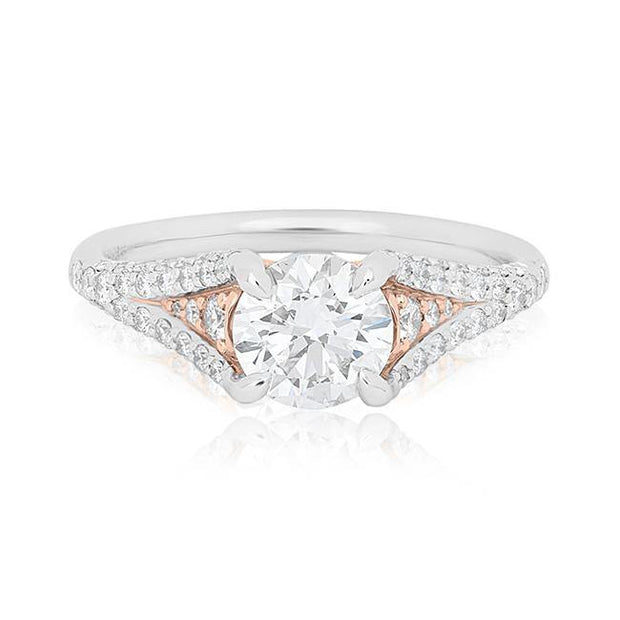 18K Rose Gold and Platinum Diamond Mounting