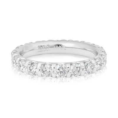 Precision Set Platinum Prong Set Round Diamond Eternity Band
