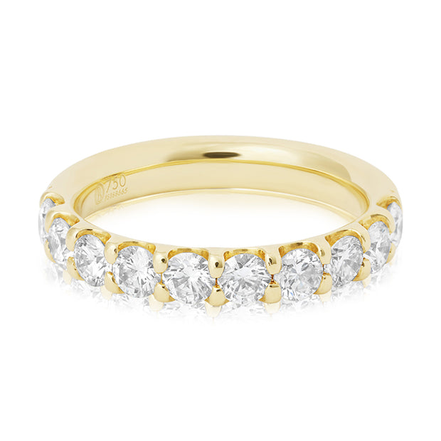 Precision Set 18K Yellow Gold Prong Set Round Diamond Band