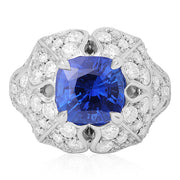 Precision Set 18K White Gold Sapphire and Diamond Ring