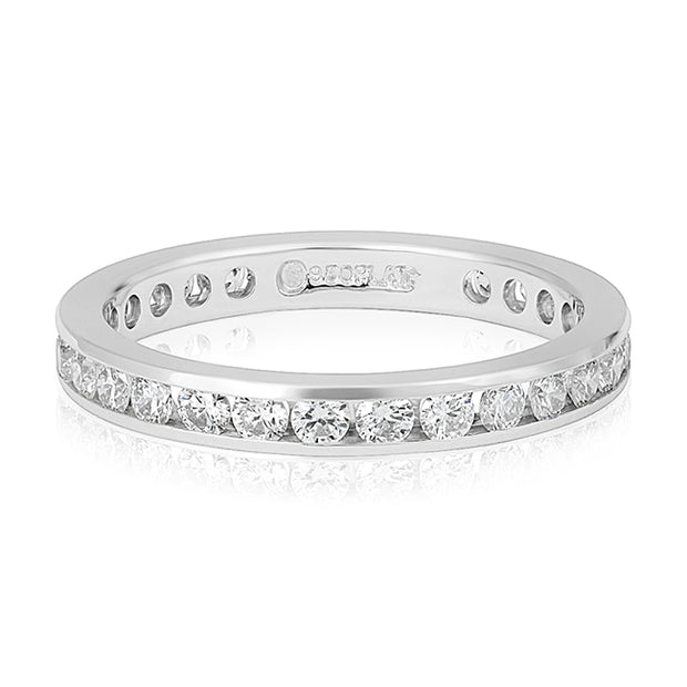 Platinum Channel Set Diamond Eternity Band