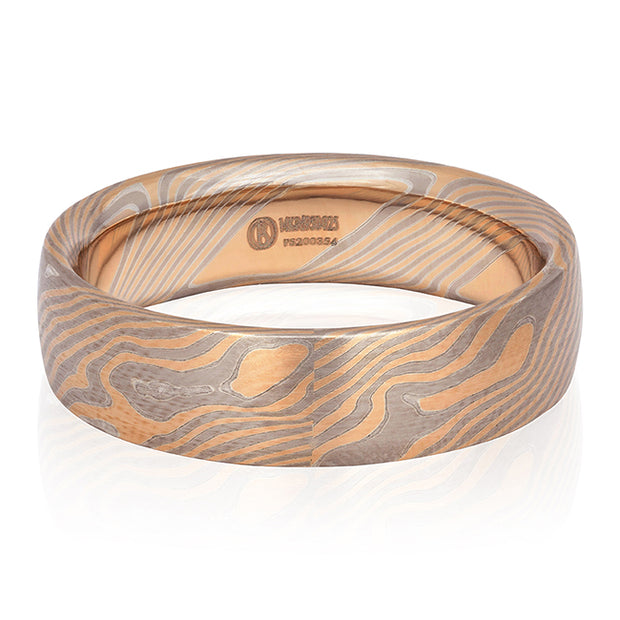 14K Rose Gold, Sterling Silver and Palladium Men's Wedding Band