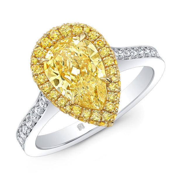 Platinum and 18K Yellow Gold Fancy Yellow Pear Diamond Engagement Ring
