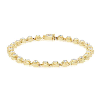 18K Yellow Gold Round Diamond Line Bracelet
