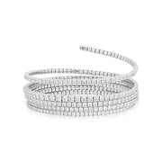 18K White Gold Round Diamond Coil Bracelet