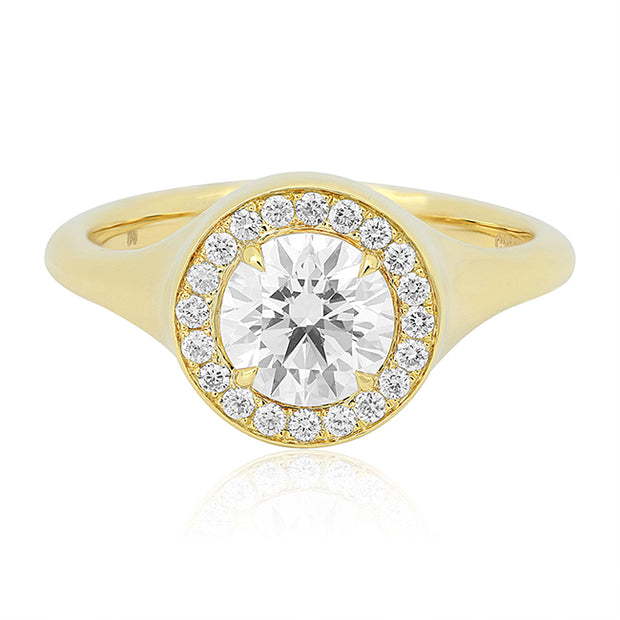 TIVOL 18K Yellow Gold Round Diamond Halo Ring