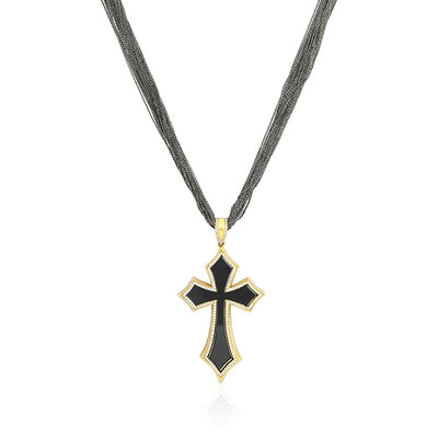 18K Rose Gold Black Onyx Cross Necklace With Diamonds