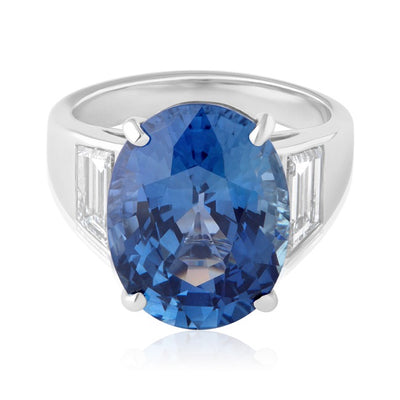 Rahaminov Platinum Oval Blue Sapphire and Diamond Ring