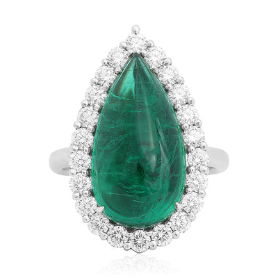 Platinum Pear Shaped Emerald Ring with A Diamond Halo
