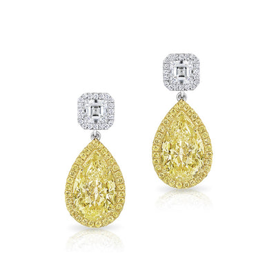 Platinum and Yellow Gold Diamond Earrings