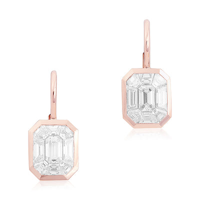 18K Rose Gold Kaleido Emerald Diamond Drop Earrings