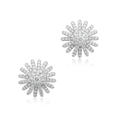 18K White Gold Aster Diamond Stud Earrings