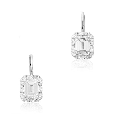 18K White Gold Emerald Cut Diamond Drop Earrings With a Diamond Halo