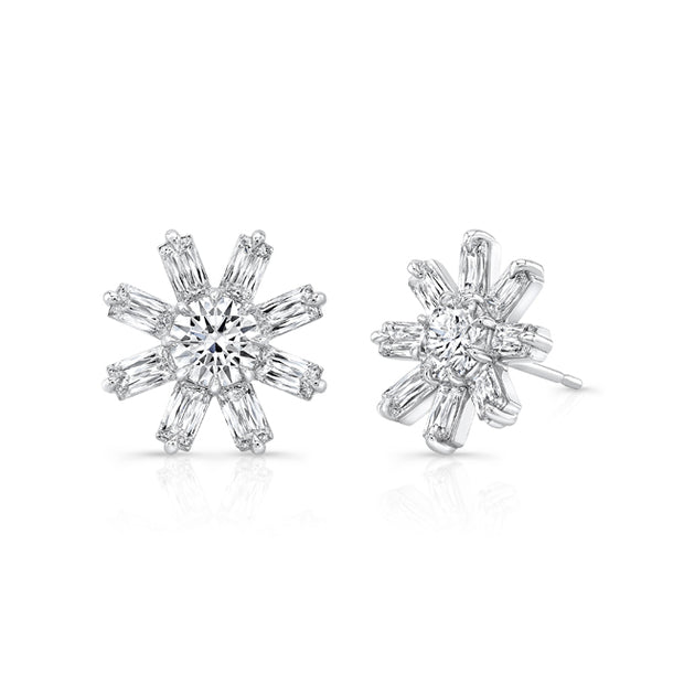 18K White Gold Flower Collection Diamond Earrings