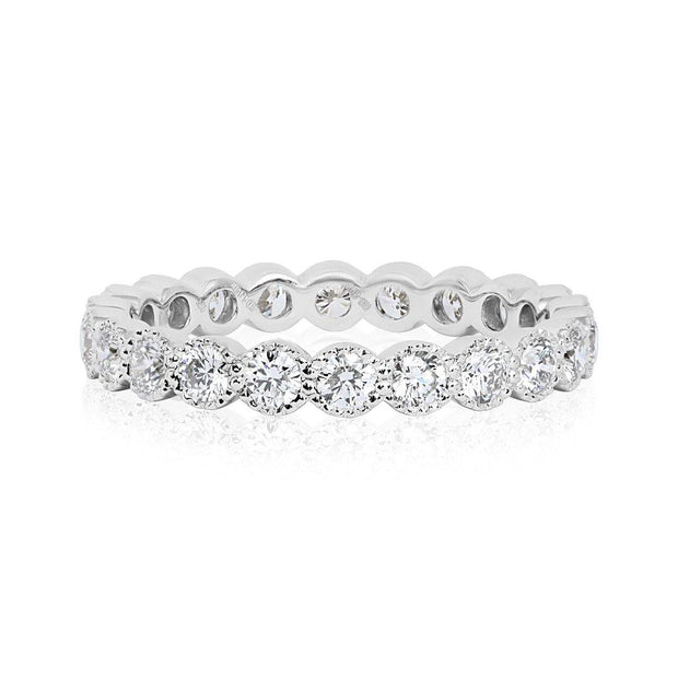 18K  White Gold and Diamond Beaded Collection Eternitiy Band