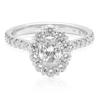 TIVOL 18K White Gold Oval Diamond Halo Ring