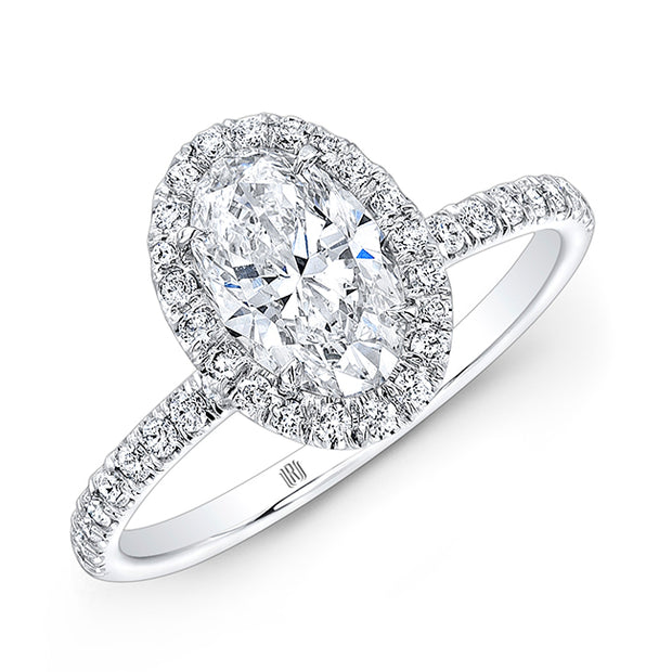18K White Gold Oval Diamond Engagement Ring with Halo