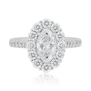 Rahamoniv 18K White Gold Oval Diamond Halo Ring Top View