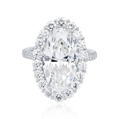 Platinum Oval Shape Diamond Engagement Ring with Halo