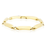 18K Yellow Gold Tapered Link Bracelet with Diamonds