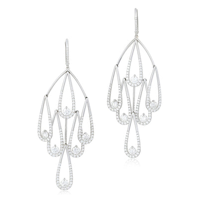 18K White Gold Teardrop Earrings Diamonds