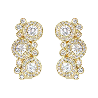 18K Yellow Gold Diamond Bubble Earrings