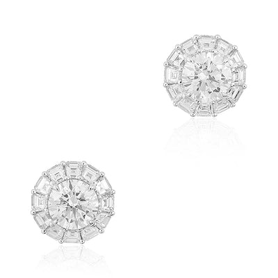 Platinum Round Diamond Halo Stud Earrings