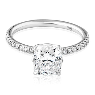 18K White Gold Cushion Cut Diamond Ring